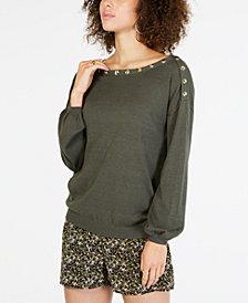 MICHAEL Michael Kors Button-Embellished Blouson Sleeve Sweater