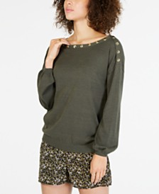 MICHAEL Michael Kors Button-Embellished Blouson Sleeve Sweater