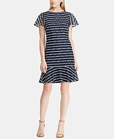 Lauren Ralph Lauren Petite Striped Lace-Sleeve Dress