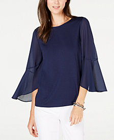 MICHAEL Michael Kors Flutter-Sleeve Mixed Media Top, Regular & Petite