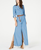 58060621ff MICHAEL Michael Kors Denim Maxi Shirtdress