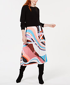 Bar III Printed Pleated Midi Skirt, Created for Macy's