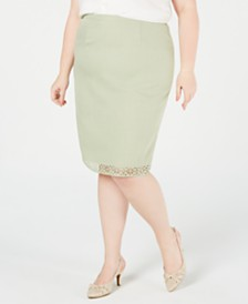 Alfred Dunner Plus Size Southampton Laser-Cut Pencil Skirt