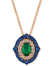"Costa Smeralda™ Multi-Gemstone (7/8 ct. t.w.) & Nude Diamond (1/5 ct. t.w.) 20"" Pendant Necklace in 14k Rose Gold"