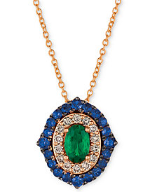 "Le Vian Costa Smeralda™ Multi-Gemstone (7/8 ct. t.w.) & Nude Diamond (1/5 ct. t.w.) 20"" Pendant Necklace in 14k Rose Gold"