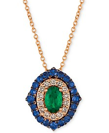 "Le Vian Costa Smeralda™ Multi-Gemstone (7/8 ct. t.w.) & Nude Diamond (1/5 ct. t.w.) 20"" Pendant Necklace in 14k Rose Gold"