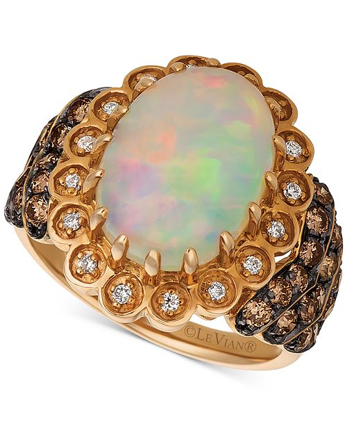 Le Vian Neopolitan Opal (3 ct. t.w.), Chocolate (3/4 ct. t.w.) and Vanilla (1/10 ct. t.w.) Statement Diamond Ring in 14k Rose Gold