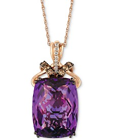 "Le Vian® Grape Amethyst (9-3/4 ct. t.w.), Chocolate Diamond (1/4 ct. t.w.) and Vanilla Diamond Accent 18"" Pendant Necklace in 14k Rose Gold"
