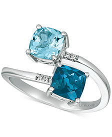 Le Vian® London Blue Topaz (1 ct. t.w.), Sky Blue Topaz (1 ct. t.w.) and Vanilla Diamond Accent Bypass Ring in 14k White Gold