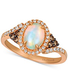 Neopolitan Opal (5/8 ct. t.w.), Chocolate Diamond (1/10 ct. t.w.) and Vanilla Diamond (1/6 ct. t.w.) Ring in 14k Rose Gold