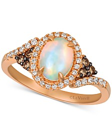 Le Vian® Neopolitan Opal (5/8 ct. t.w.), Chocolate Diamond (1/10 ct. t.w.) and Vanilla Diamond (1/6 ct. t.w.) Ring in 14k Rose Gold