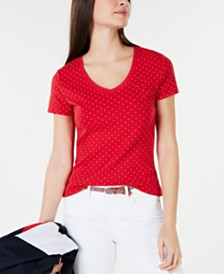 Tommy Hilfiger Cotton Dot-Print Logo T-Shirt, Created for Macy's