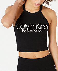 Calvin Klein Performance Logo Cropped Halter Top
