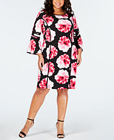 Calvin Klein Plus Size Flare-Sleeve Piped Dress