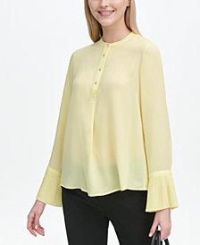Calvin Klein Long-Sleeve Pleated-Cuff Blouse