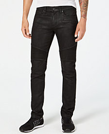 Armani Exchange Mens Coated Slim-Fit Moto Jeans