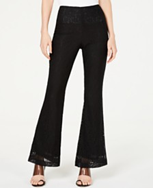 I.N.C. Petite Allover-Lace Flare-Leg Pants, Created for Macy's