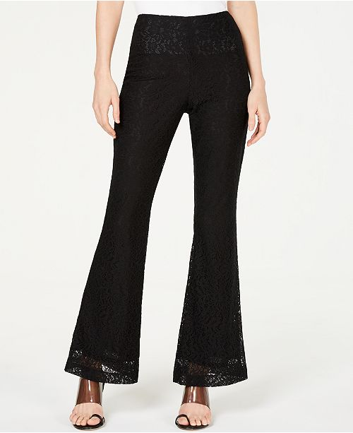 INC International Concepts I.N.C. Petite Allover-Lace Flare-Leg Pants, Created for Macy's