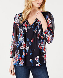 Tommy Hilfiger Long-Sleeve Eloise-Floral Pintuck Top, Created for Macy's