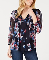 0da1f309a Tommy Hilfiger Long-Sleeve Eloise-Floral Pintuck Top, Created for Macy's
