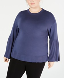 Calvin Klein Performance Plus Size Bell-Sleeve Top