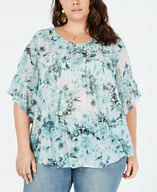 Style & Co Plus Size Floral-Print Pleated Top, Created for Macy's