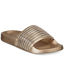 I.N.C. Metallic Mesh Stripe Slides, Created for Macy's