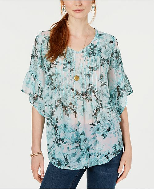 Style & Co Petite Floral-Print Pleated Top, Created for Macy's