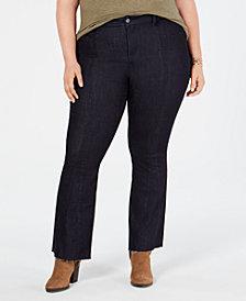 YSJ Plus Size Bootcut Raw-Hem Jeans