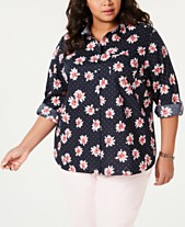 56f8f9e6c584 Tommy Hilfiger Plus Size Dotted Daisy Button-Up Shirt