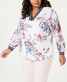 Plus Size Long-Sleeve Floral Peasant Top, Created for Macy's