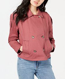 American Rag Juniors' Raw-Edged Epaulette Military Jacket, Created for Macy's