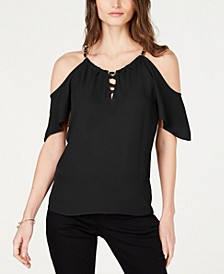 INC Lace-Up Cold-Shoulder Top, Created for Macy's