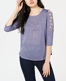 BCX Juniors' Lattice-Detailed Top with Necklace