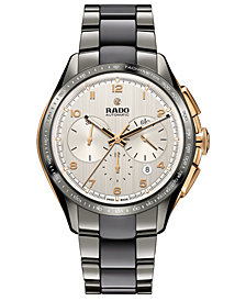 Rado Men's Swiss Automatic Chronograph HyperChrome Plasma High-Tech Ceramic & Stainless Steel Bracelet Watch 45mm