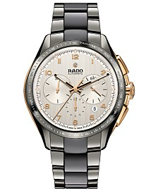 Rado Men's Swiss Automatic Chronograph HyperChrome Plasma High-Tech Ceramic & Stainless Steel Bracelet Watch 45mm