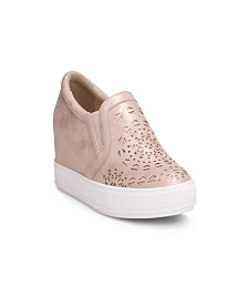 Wanted Hidden Wedge Sneaker With Laser Cut Upper