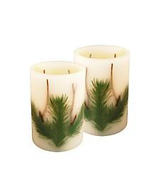 LumaBase Set of 2 Pine Needle Battery Operated LED Wax Candles