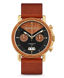 Mens Mahogany Wood Chronograph, with Cognac Italian Leather Band 44M Watch