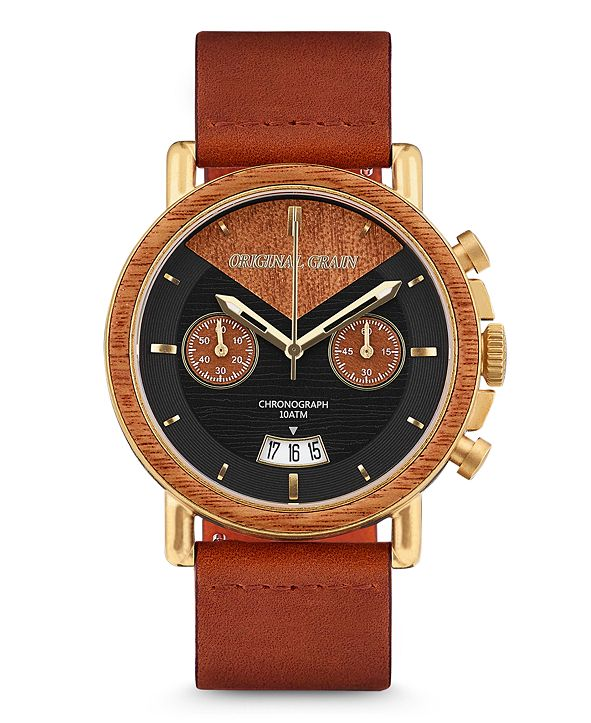 Original Grain Mens Mahogany Wood Chronograph, with Cognac Italian Leather Band 44M Watch