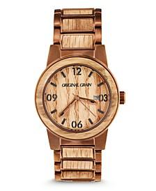 Mens Reclaimed Whiskey Barrel Wood, Espresso Stainless Steel 42mm Watch