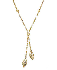 14k Gold Necklace, Diamond Cut Marquise Filigree Drop Lariat Pendant