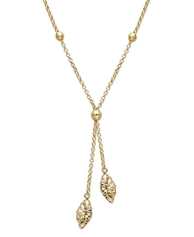 14k Gold Necklace, Diamond Cut Marquise Filigree Drop Lariat Pendant