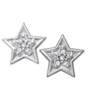 10k White Gold Earrings, Diamond Accent Star Stud Earrings