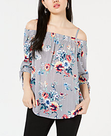 BCX Juniors' Printed Off-The-Shoulder Blouse