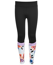Big Girls Floral-Print Colorblocked Leggings, Created for Macy's