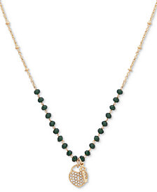 """lonna & lilly Gold-Tone Crystal Lock & Key Beaded Pendant Necklace, 16"""" + 3"""" extender"""