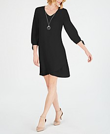 Petite Tie-Sleeve Necklace Dress, Created for Macy's