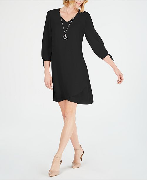 JM Collection Tie-Sleeve Necklace Dress, Created for Macy's