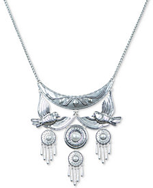 "Lucky Brand Silver-Tone Imitation Pearl & Birds Statement Necklace, 17"" + 2"" extender"